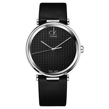 Calvin Klein CK Sight 立體格紋時尚腕錶-黑/40mm K1S21102