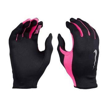 【NIKE】RALLY 2.0 女用跑步手套-慢跑 路跑 防曬 一雙入 黑螢光粉紅