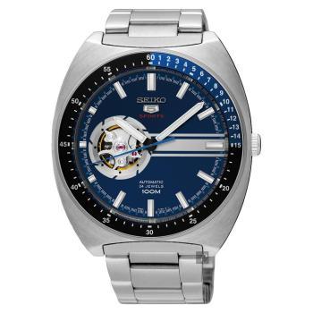 SEIKO精工 5號尊者鏤空機械腕錶 藍 44mm 4R38-01K0D SSA327J1