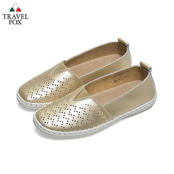 Travel Fox(女) 黃金三角 牛皮雕花直套休閒鞋 - 陽光金