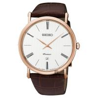 SEIKO 精工 Premier 超薄石英腕錶 銀x玫瑰金框 40mm 7N39-0CA0J SKP398J1