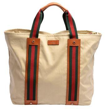 GUCCI 綠紅綠織帶牛皮飾邊大型購務物/托特肩背包(杏色-附萬用包)