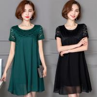 【A3】戀戀春風-菱格蕾絲飄逸洋裝(綠/黑) 2色選 M-XXL
