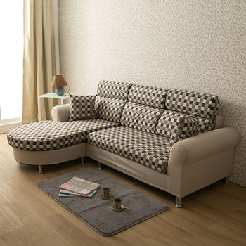 【日安家居】Rosalind羅莎琳經典方格L型布沙發(共二色)