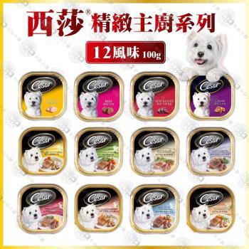 【雙組合】Cesar西莎餐盒精緻主廚風味系列 寵物犬餐狗罐 24入+ 凱尼斯炙燒零食系列3入