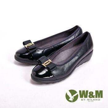 W&M 亮皮高雅蝴蝶結 輕量感厚底 女鞋