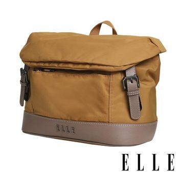 ELLE 時光旅人系列-大容量10吋IPAD 橫式休閒手提/斜背包-日光駝