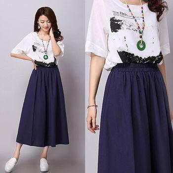 【SCL】B1719 兩色棉麻舒適好穿鬆緊腰身氣質擺褶長裙