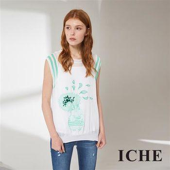ICHE 衣哲 時尚印花百搭不規則造型上衣 兩色