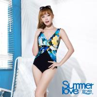 【SUMMERLOVE夏之戀】大女連身三角印花泳衣E16712