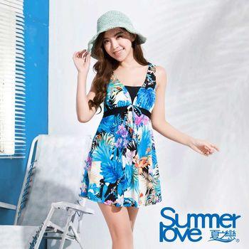【SUMMERLOVE夏之戀】窈窕淑女連身帶裙印花泳衣-加大碼E16722
