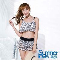 【SUMMERLOVE夏之戀】大女短版黑白提花三件式泳衣E16707