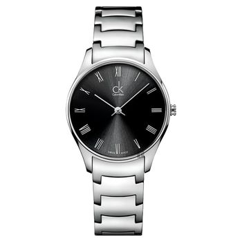 Calvin Klein CK Classic 極簡羅馬女錶 黑x銀 32mm K4D2214Y