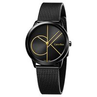 Calvin Klein CK Minimal 經典大LOGO腕錶 黑 35mm K3M224X1