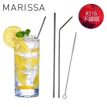 【韓國MARISSA】頂級加長版316不鏽鋼吸管便利3入組 (L型吸管*1+直型吸管*1+毛刷*1+收納袋*1)
