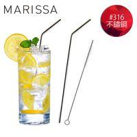 ~韓國MARISSA~ 加長版316不鏽鋼吸管便利2入組  L型吸管~1 毛刷~1 收納袋
