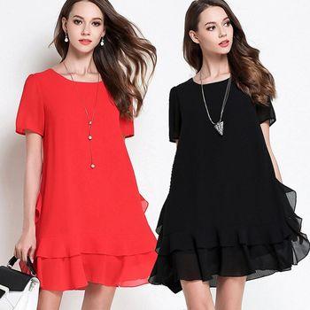 【麗質達人中大碼】PM2686裙擺壓摺假二件洋裝(M-5XL)