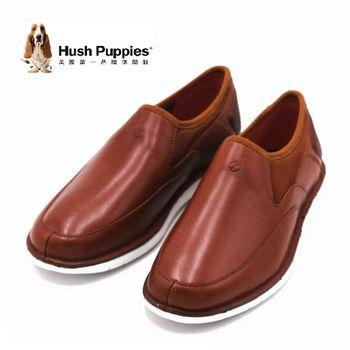 Hush Puppies 復古簡約直套式懶人鞋 休閒鞋 男款-棕(另有黑)