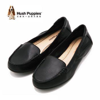 Hush Puppies MARZIA ROBYN系列 全真皮經典素面莫卡辛鞋 女鞋-黑(另有桃)