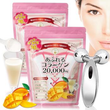【日本皇后與公主】極濃2萬毫克膠原蛋白粉250g*2入+3D滾輪小V臉按摩棒