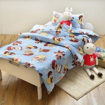 義大利Fancy Belle X DreamfulCat 愛麗絲茶會-藍 兒童純棉防蹣抗菌兩用被枕頭2件組