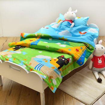 義大利Fancy Belle X Malis 大自然的淋浴 兒童純棉防蹣抗菌兩用被枕頭2件組