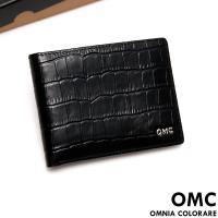 OMC - 韓系品味真皮鱷魚紋7卡3照上下翻短夾