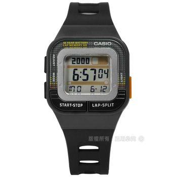 CASIO / SDB-100-1A / 10年電力慢跑運動方型計時電子手錶 黑色 34mm