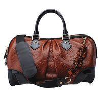 LVM95299 潮流時尚手提/肩背旅行袋(棕X黑)
