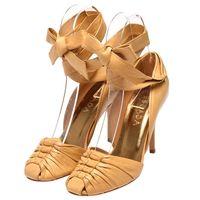 ESCADA 小羊皮編織綁帶高跟鞋(卡其色-37)