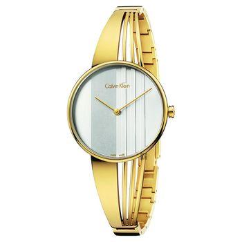 Calvin Klein CK Drift 輕盈條紋手鐲腕錶 銀x金 34mm K6S2N516