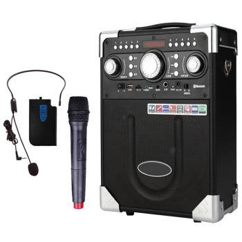 大聲公 典雅型 無線麥克風 多功能行動音箱 (耳麥+話筒組)