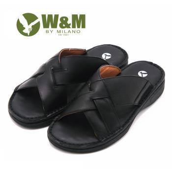 W&M 交叉寬帶 露齒涼鞋 男鞋-黑(另有棕)