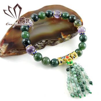 【礦世】水藻瑪瑙景泰藍手珠E560