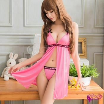 【Sexy Cynthia】性感睡衣 粉色愛戀前開襟柔緞二件式睡衣