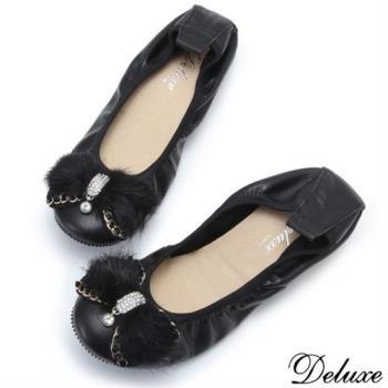【Deluxe】全真皮柔毛蝴蝶結水鑽娃娃鞋(黑)