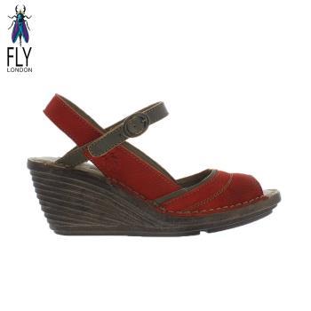 Fly London(女) Gami 魚口描邊真皮楔型高跟涼鞋 - 咖邊紅