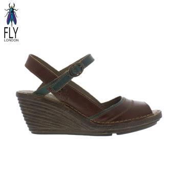 Fly London(女) Gami 魚口描邊真皮楔型高跟涼鞋 - 綠邊咖