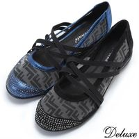 【Deluxe】全真皮夏日透膚水鑽拼接綁帶坡跟休閒鞋(黑☆藍)-9226-003