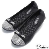 【Deluxe】經典質感水鑽蝴蝶結娃娃鞋(黑☆金)-588-46