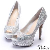 【Deluxe】全真皮奢華晶亮閃羊皮水鑽防水台魚口跟鞋(銀)-360-2B