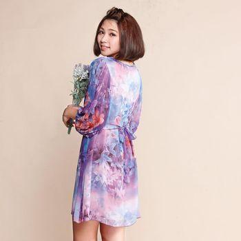 黛莉克絲俏麗花卉顯瘦洋裝(紫花)