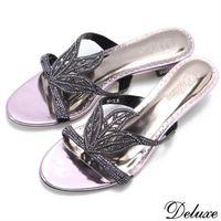【Deluxe】歐式時尚女伶奧地利水鑽低跟拖鞋(紫)-361-03
