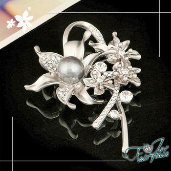 【伊飾童話】璀璨花園*黑珍珠炫銀胸針/銀