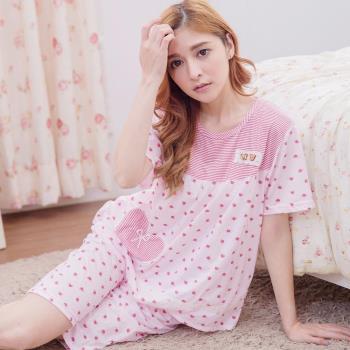 lingling日系 全尺碼-滿版愛心橫條紋短袖二件式睡衣組(浪漫粉)A3023-01