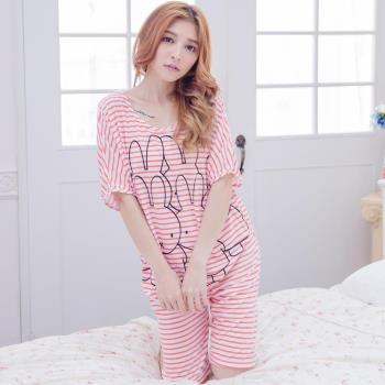 lingling日系 全尺碼-橫條紋兔兔寬袖短袖二件式睡衣組(亮眼桔)A2960-01