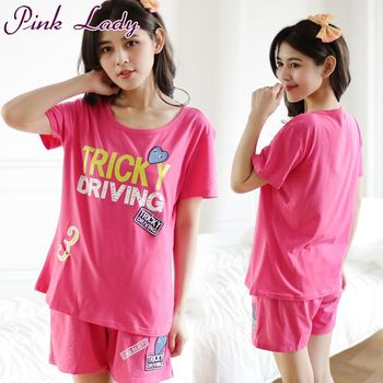 PINK LADY  個性英文布貼居家短袖成套睡衣6002(玫紅)