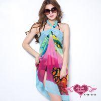 天使霓裳 度假風情 多種穿法外搭紗裙(蝴蝶彩花F) R110317