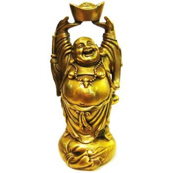 開運陶源 銅雕元寶頂天彌勒佛9 x8 x19 cm