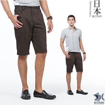 【NST Jeans】日本布料 日式昭和咖啡色短褲(中腰鬆緊修身版) 397(25846)